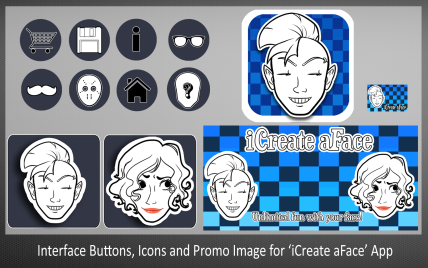 Interface Buttons, Icons and Promo Image for iCreate aFace App