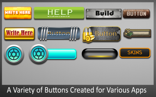 Different Buttons Created for App Interfaces