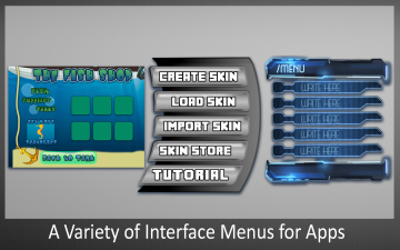 A Variety of Interface Menus for Apps