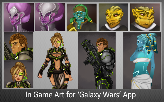In Game Art for Galaxy Wars App