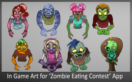 In Game Art for Zombie Eating Contest App