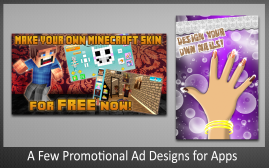 A Few Promotional Ad Designs for Apps