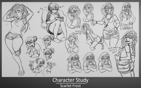 Lots of study sketches for my character Scarlet Frost