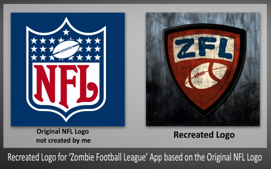 Recreated Logo and Icon for Zombie Football League App based on the original NFL Logo