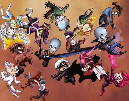 Chibi's of multiple oc's and original characters from Dreamwork's Megamind.