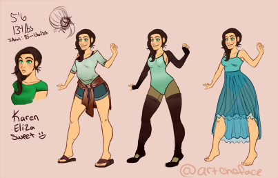 idea/design for my character Karen, coming up with dancing outfits.