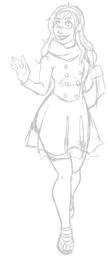 Sketch of Scarlet in a coat dress.